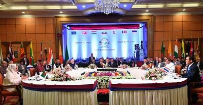 Kathmandu: Prime Minister Narendra Modi, Thailand Prime Minister Prayut Chan-o-cha, Sri Lanka President Maithripala Sirisena, Nepal Prime Minister K.P. Oli, Myanmar President Win Myint, Bhutan Chief Justice and Chief Adviser to the Interim Government Dasho Tshering Wangchuk, and Bangladesh Prime Minister Sheikh Hasina at the signing ceremony of BIMSTEC Convention, adoption of Kathmandu declaration, in Kathmandu, Nepal, on Aug 31, 2018. (Photo: IANS/PIB)