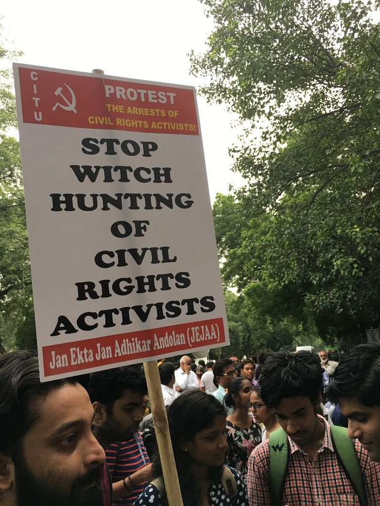 A protest march against activists' arrest was organised in Delhi.