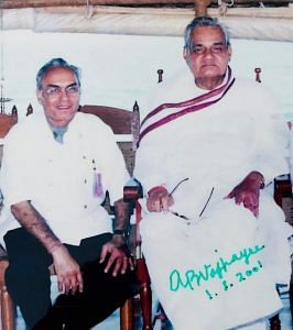 Chef Satish Arora with former PM late Atal Bihari Vajpayee at Taj Kumarakom Resort & Spa Kerala in 2001. The photograph is autographed by AB Vajpayee with the date.