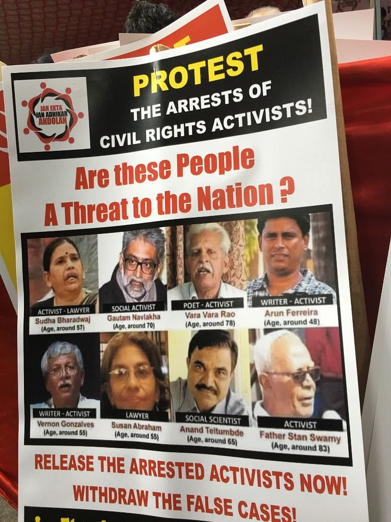 Professors, students, political leaders came out to condemn the arrests made by Pune police on Tuesday, 30 August.