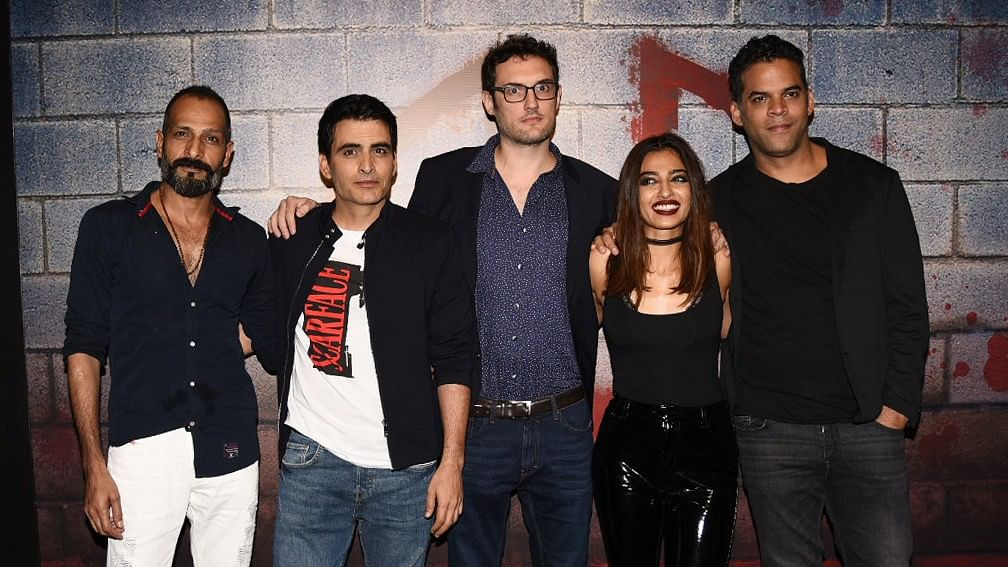 The <i>Ghoul</i> team at the screening of their horror miniseries.