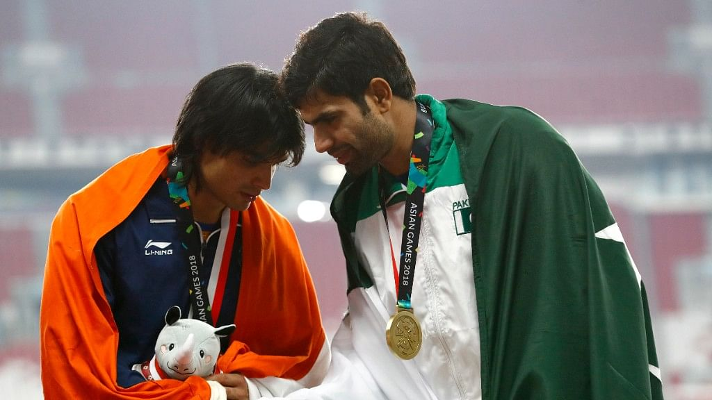 Neeraj Chopra and Arshad Nadeem greet each other at the medal ceremony. Neeraj won the gold while Pakistan's Nadeem bagged the silver medal.