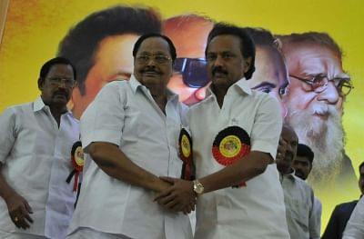 Chennai: Former Union Minister MK Alagiri greets MK Stalin after being elected as the new DMK President, in Chennai, on Aug 28, 2018. (Photo: IANS)