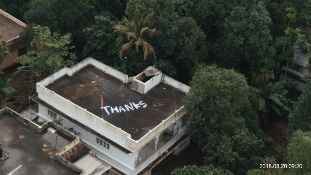 Navy Greeted With 'Thanks' Note on Kochi Rooftop for Kerala Rescue