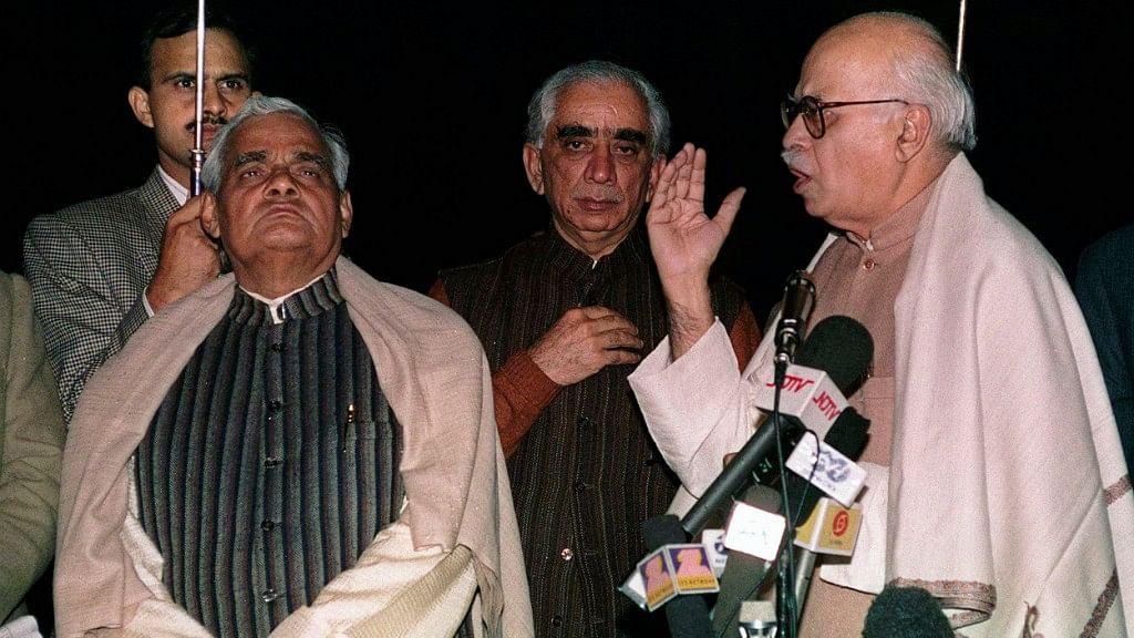 In this 30 Nov, 1997 file photo, Bharatiya Janata Party leaders LK Advani (R), Jaswant Singh (C) and Atal Bihari Vajpayee (L) address reporters.