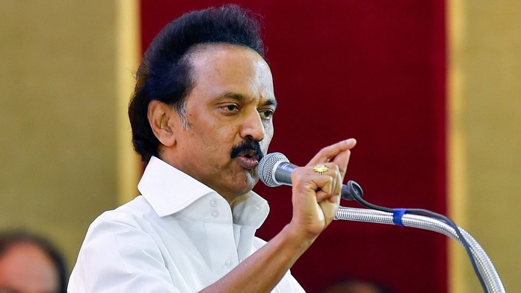 DMK Working President M K Stalin addresses during the partys General Council Meeting at Anna Arivalayam in Chennai on Tuesday, Aug 28, 2018. Stalin was unanimously elected as the party President at the meeting.