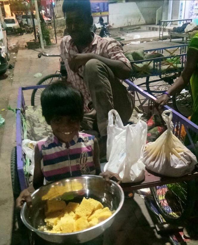 All that a  rickshaw puller needs after a long day's work is a good meal.