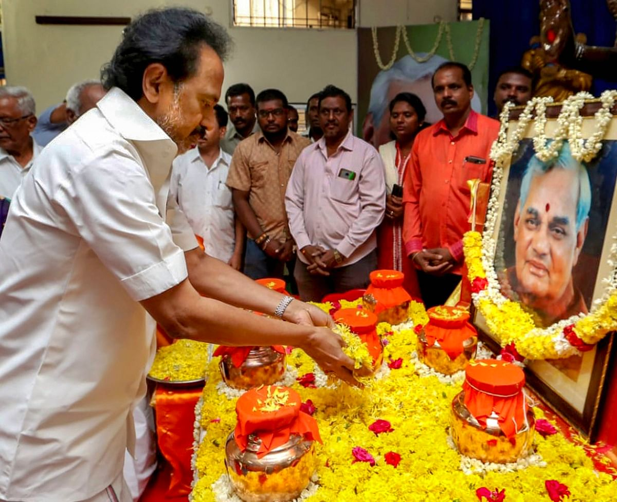 MK Stalin pays tribute to Atal Bihari Vajpayee at the DMK General Council meeting at party headquarters in Chennai