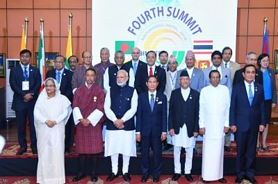 Kathmandu: Prime Minister Narendra Modi with Bangladesh Prime Minister Sheikh Hasina, Bhutan Chief Justice and Chief Adviser to the Interim Government Dasho Tshering Wangchuk, Myanmar President Win Myint, Nepal Prime Minister K.P. Oli, Sri Lanka President Maithripala Sirisena and Thailand Prime Minister Prayut Chan-o-cha in a group photograph with the HODs of Ministerial delegations and senior officials during the 4th BIMSTEC Summit, in Kathmandu, Nepal, on Aug 31, 2018. (Photo: IANS/PIB)