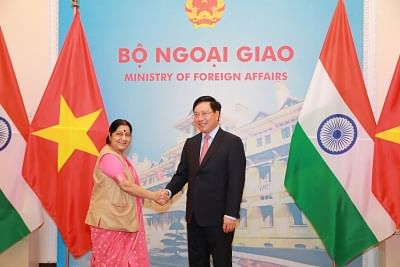 Hanoi: External Affairs Minister Sushma Swaraj meets Vietnam Deputy Prime Minister and Foreign Affairs Minister Pham Binh Minh, in Hanoi, Vietnam on Aug 28, 2018. (Photo: IANS/MEA)