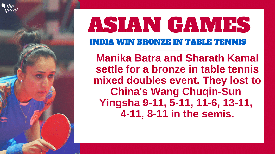 Asiad: Manika & Sharath Win India's Second Bronze in Table Tennis