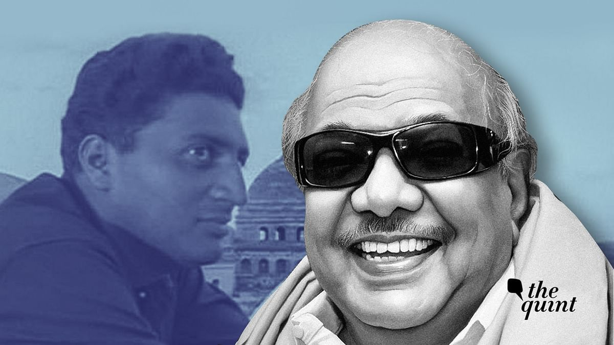 Iruvar protagonist Prakash Raj (L) and M Karunanidhi (R).