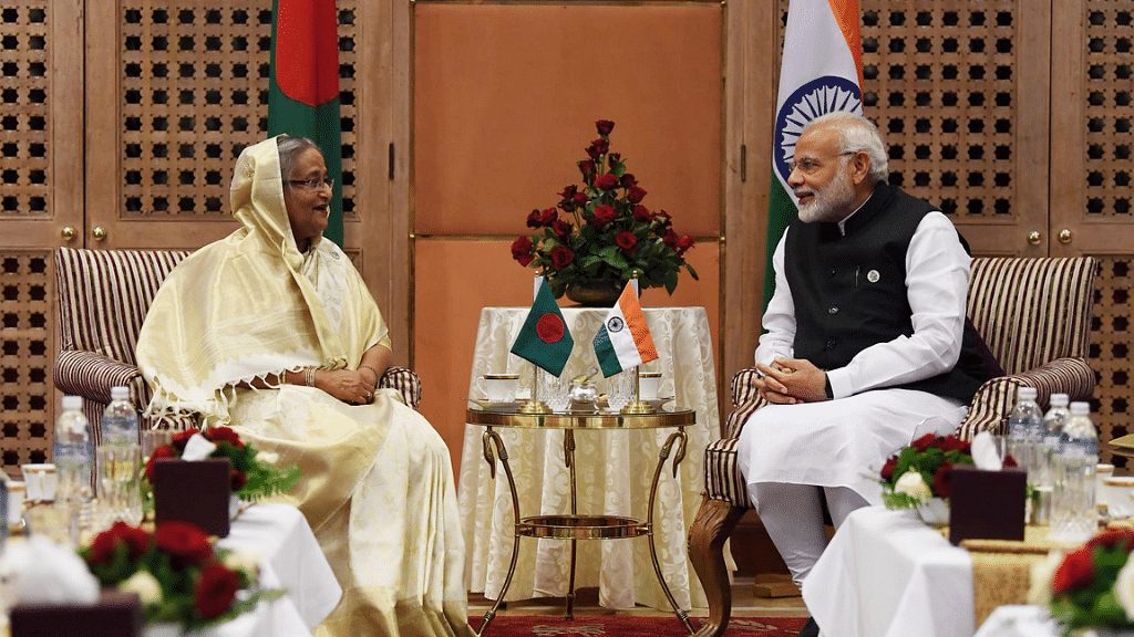 PM Modi met Bangladeshi counterpart Sheikh Hasina at the BIMSTEC summit in Nepal.