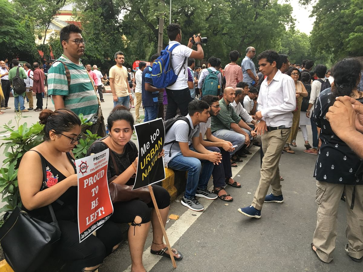 The protest saw students from DU, JNU and Ambedkar University in large numbers.
