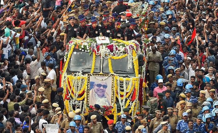 DMK Supremo M Karunanidhi was laid to rest at Chennai's Marina Beach on Wednesday, 8 August.