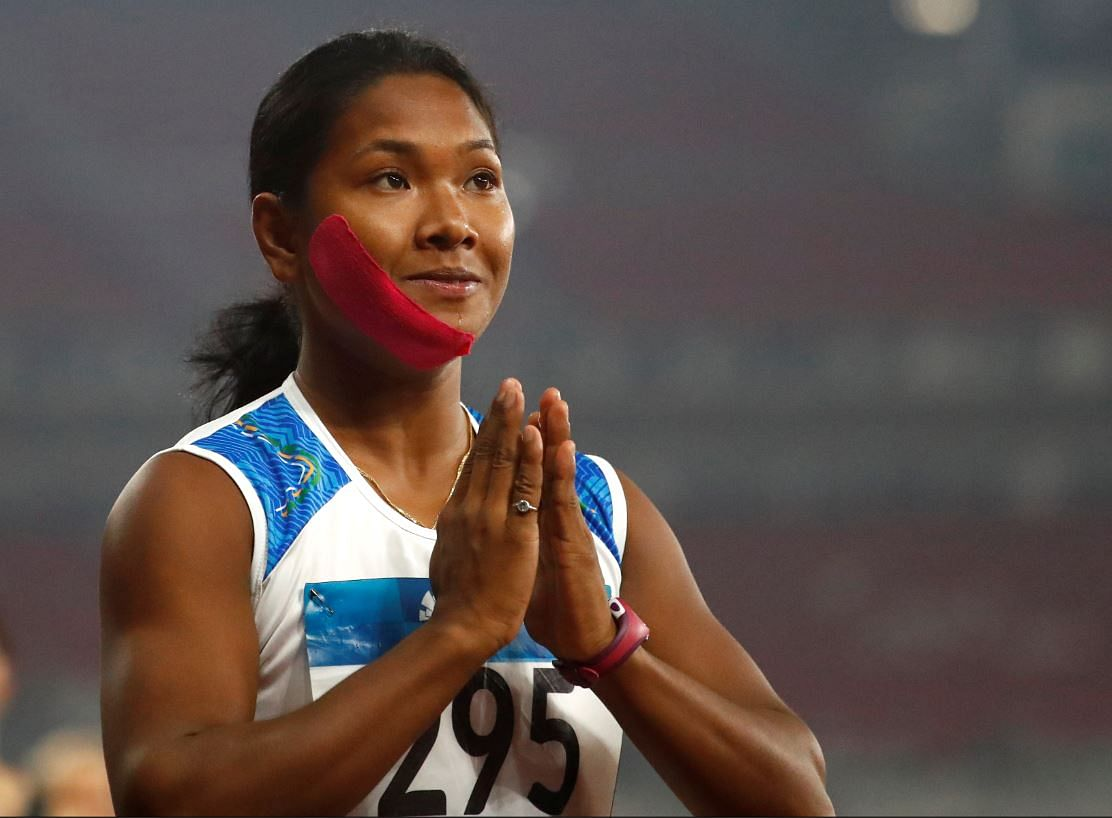 Swapna Barman just prepping for the 200m race.