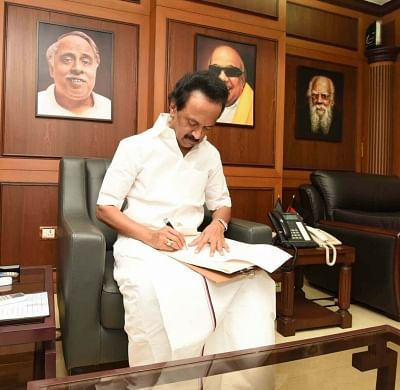 Chennai: DMK leader M. K. Stalin signs his nomination papers for the post of party president at the party office, in Chennai on Aug 26, 2018. DMK will hold a meeting of its General Council on August 28 to elect a party President following the death of former Chief Minister M. Karunanidhi. (Photo: IANS)