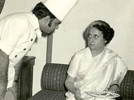 Chef Satish Arora with former PM Indira Gandhi.