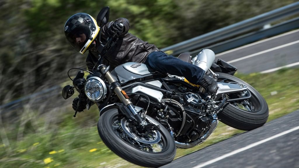 The Ducati Scrambler 1100 Special in action.