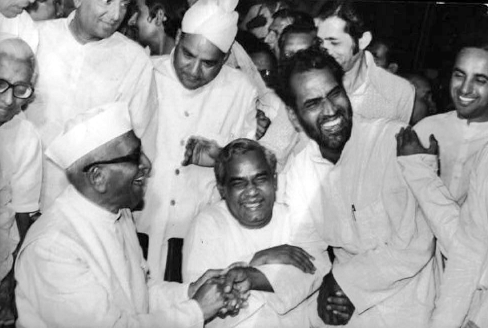 Morarji Desai, Atal Bihari Vajpayee and Chandrashekhar enjoying a laugh.