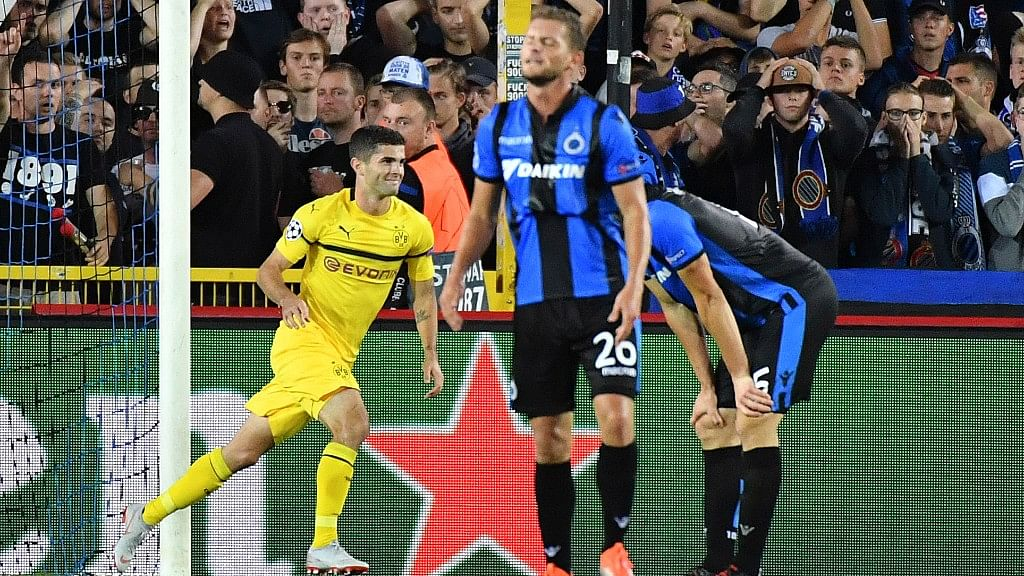 Borussia Dortmund's Christian Pulisic came on with around 20 minutes remaining and scored in the 85th minute to give Dortmund a late 1-0 win at Club Brugge.