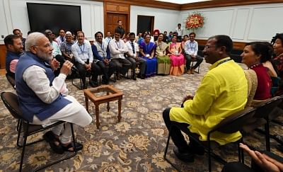 New Delhi: Prime Minister Narendra Modi interacts with the awardees of National Teachers