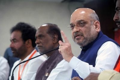 Hyderabad: BJP chief Amit Shah addresses a press conference, in Hyderabad on Sept 15, 2018. (Photo: IANS)