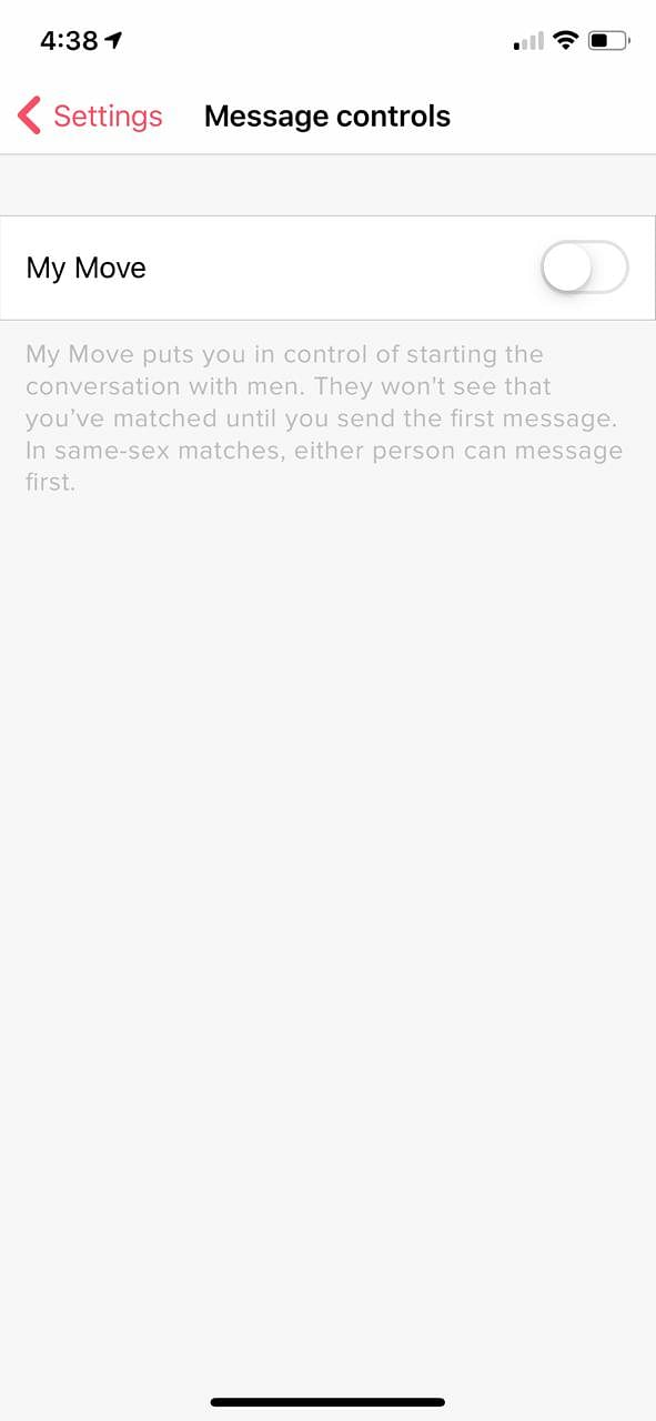 Tinder My Move feature can be activated in the Message Controls setting of the app.