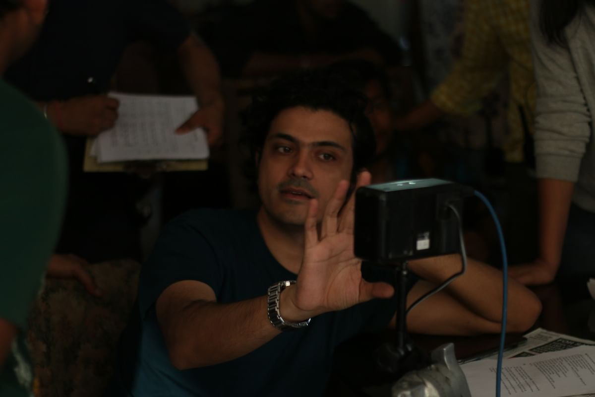 The director on the sets.