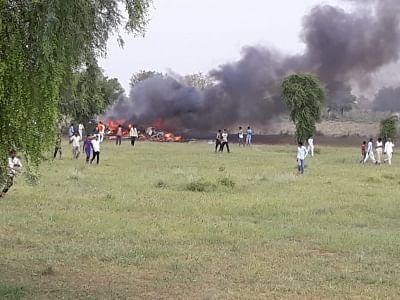 Jodhpur: The site where an Indian Air Force MiG 27 fighter aircraft crashed near Jodhpur on Sept. 4, 2018. (Photo: IANS)