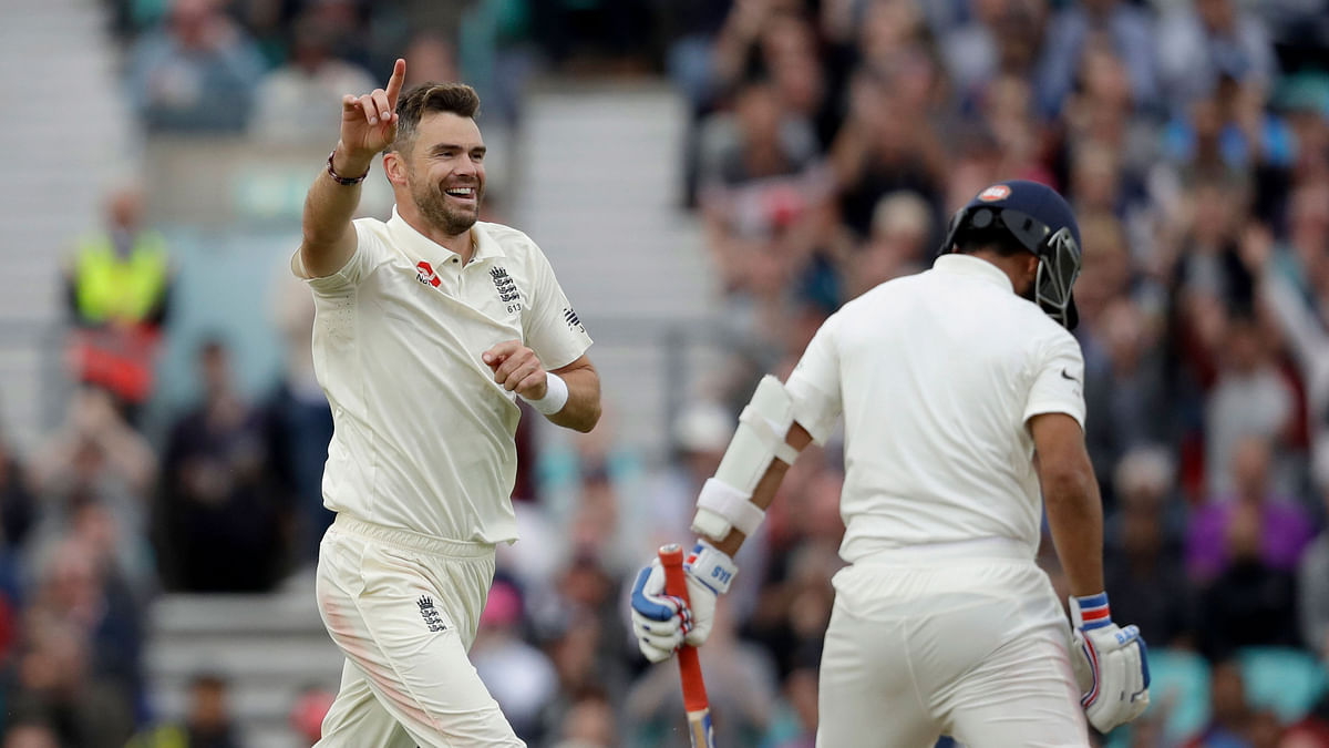 England pacer James Anderson has been fined 15 percent of his match fee for showing dissent at an umpire's decision
