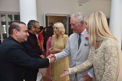 Billionaire diamond trader Nirav Modi (R) shakes hands with TRH Charles, Prince of Wales and Camilla, Duchess of Cornwall. (File Photo: IANS)