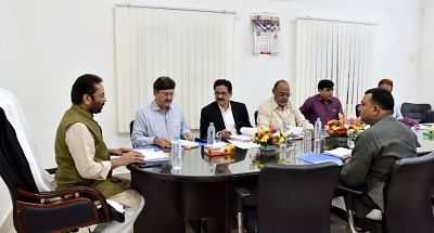 New Delhi: Union Minister for Minority Affairs Mukhtar Abbas Naqvi chairs the meeting of the governing body of Maulana Azad Educational Foundation, in New Delhi on Sept 25, 2018. (Photo: IANS/PIB)
