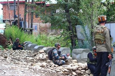 Kulgam: Security personnel during search and cordon operations after five militants were killed in a gunfight with the security forces in Jammu and Kashmir