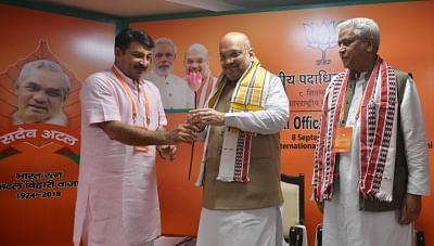 New Delhi: BJP president Amit Shah and party leaders inaugurating the BJP National Executive meeting in New Delhi on Sept. 8, 2018. (Photo: IANS)