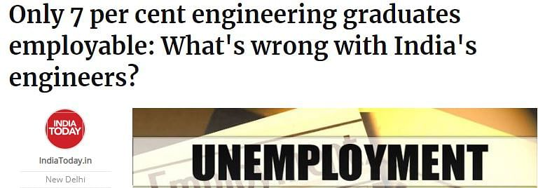 'Only 7 per cent of engineering graduates are employable' says survey.