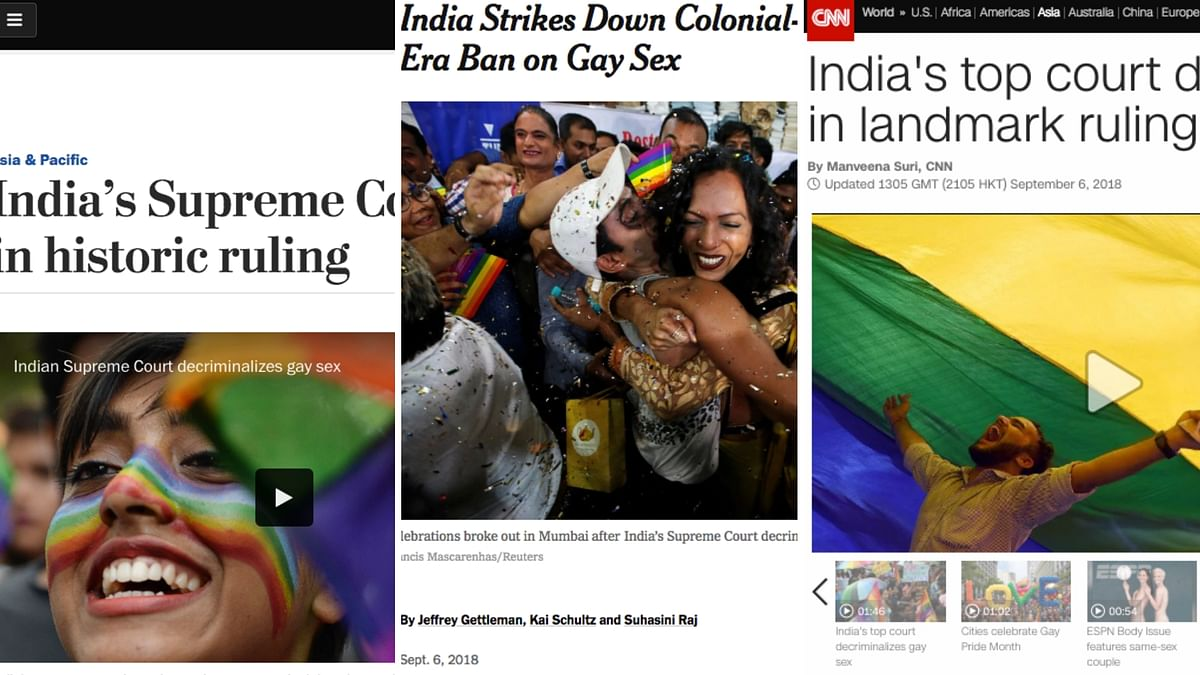 The world media on Thursday, 6 September, hailed the overturning of a colonial-era law in India that criminalised gay sex, saying the landmark ruling was a boost for gay rights not only in the world's largest democracy but also across the world.