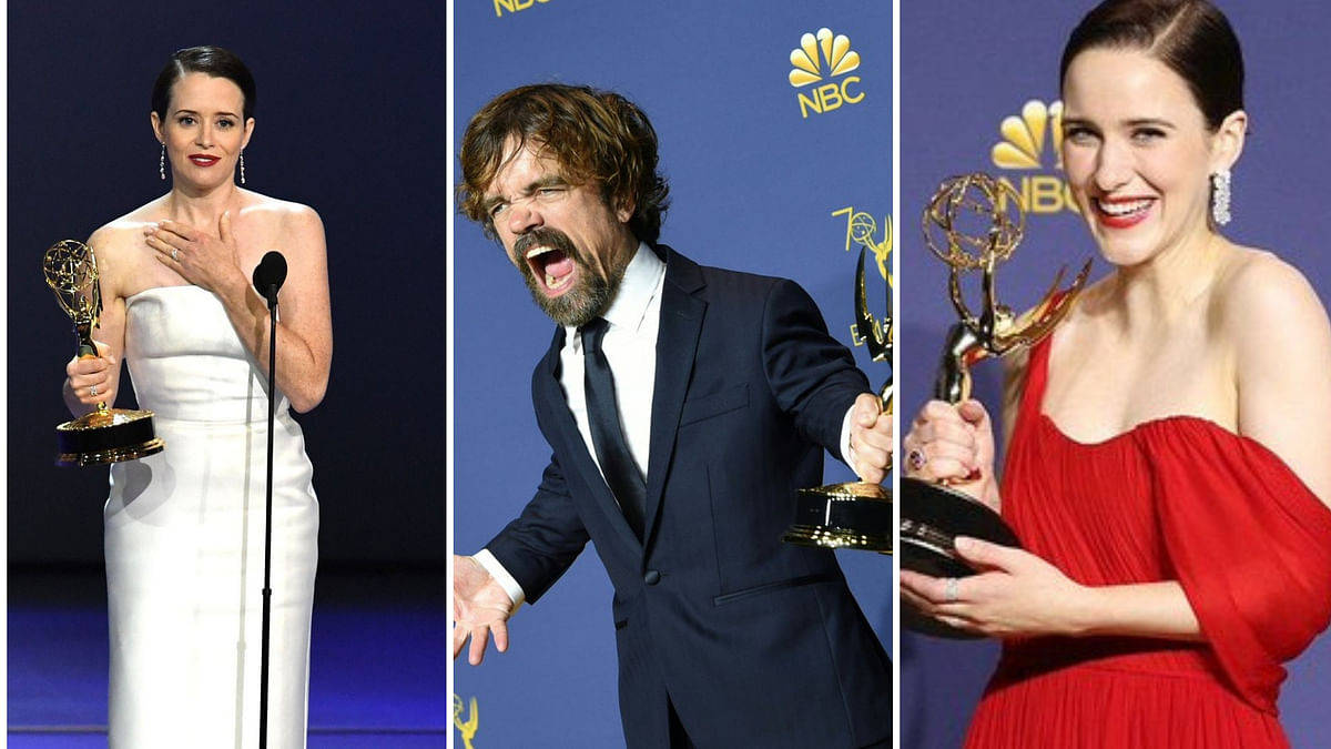 Claire Foy, Peter Dinklage and Rachel Brosnahan with their trophies.