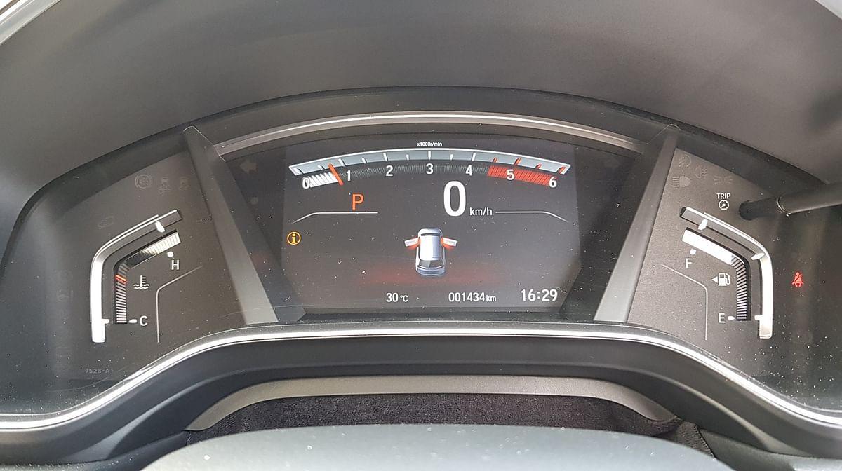Digital instrument console on the Honda CR-V.