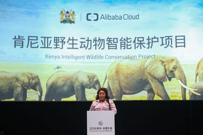Margaret Mwakima, Principal Secretary of the Kenya's Ministry of Tourism and Wildlife talking about the collaboration between Kenya and Alibaba Cloud at the company