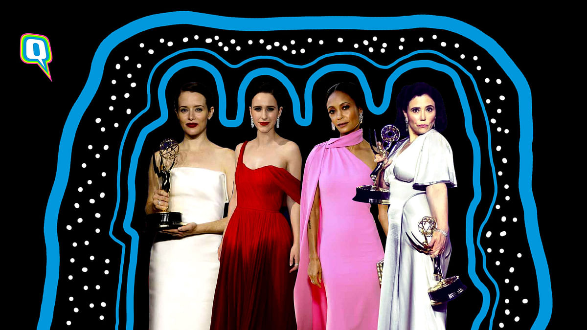 Claire Foy (extreme left), Rachel Brosnahan (second from left), Thandie Newton (third from left) and Alex Borstein (extreme right)