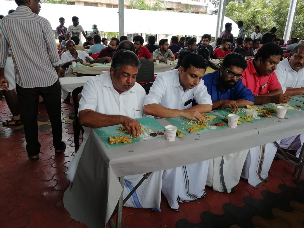 Even the MLA Saji Cheriyan sat with the people for an afternoon meal.