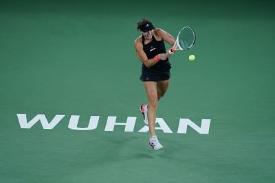 WUHAN, Sept. 27, 2018 (Xinhua) -- Anett Kontaveit of Estonia returns a shot during singles quarterfinal match against Katerina Siniakova of the Czech Republic at the 2018 WTA Wuhan Open tennis tournament in Wuhan, central China