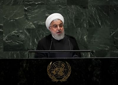 UNITED NATIONS, Sept. 25, 2018 (Xinhua) -- Iranian President Hassan Rouhani addresses the General Debate of the 73rd session of the United Nations General Assembly at the UN headquarters in New York, on Sept. 25, 2018. (Xinhua/Wang Ying/IANS)