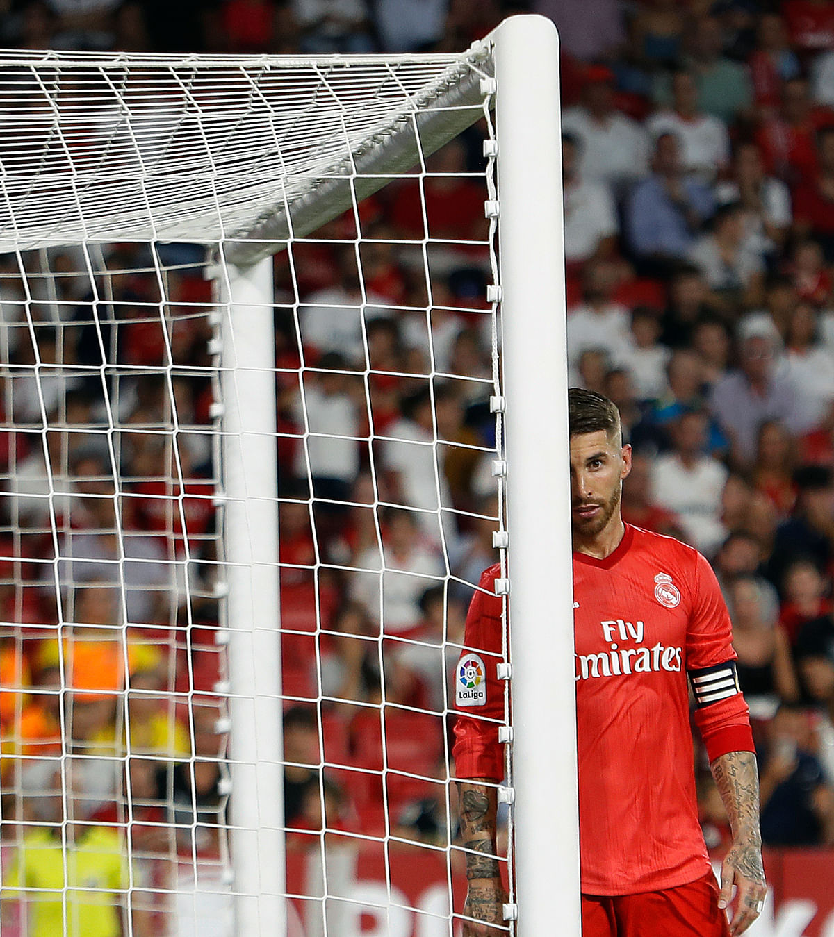 Real Madrid's Sergio Ramos, reacts during La Liga soccer match between Sevilla and Real Madrid at the Sanchez Pizjuan stadium, in Seville, Spain on Wednesday, Sept.. 26, 2018. Sevilla won 3-0.