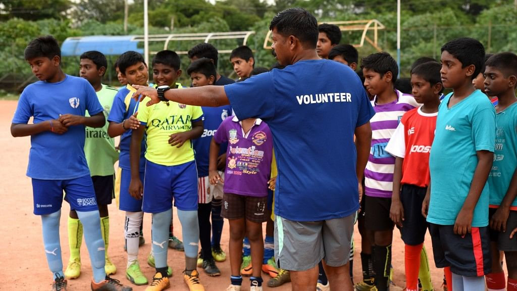 Babu, a former junior national player, is the coaches the kids in Gowthamapuram.