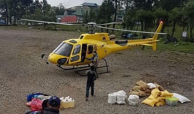 KATHMANDU, Sept. 8, 2018 (Xinhua) -- File photo taken on June 2, 2017 shows a helicopter of Altitude Air landing at Lukla Airport, Nepal. A domestic helicopter of Altitude Air has gone missing in Central Nepal since Saturday morning, government authorities said. (Xinhua/Sunil Sharma/IANS)