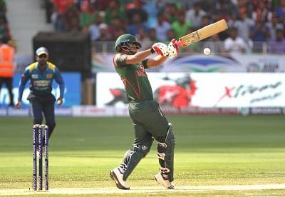 Dubai: Tamim Iqbal of Bangladesh in action during Asia Cup 2018 Group B match between Bangladesh and Sri Lanka at Dubai International Cricket Stadium in Dubai, UAE on Sept 15, 2018. (Photo: Surjeet Yadav/IANS)