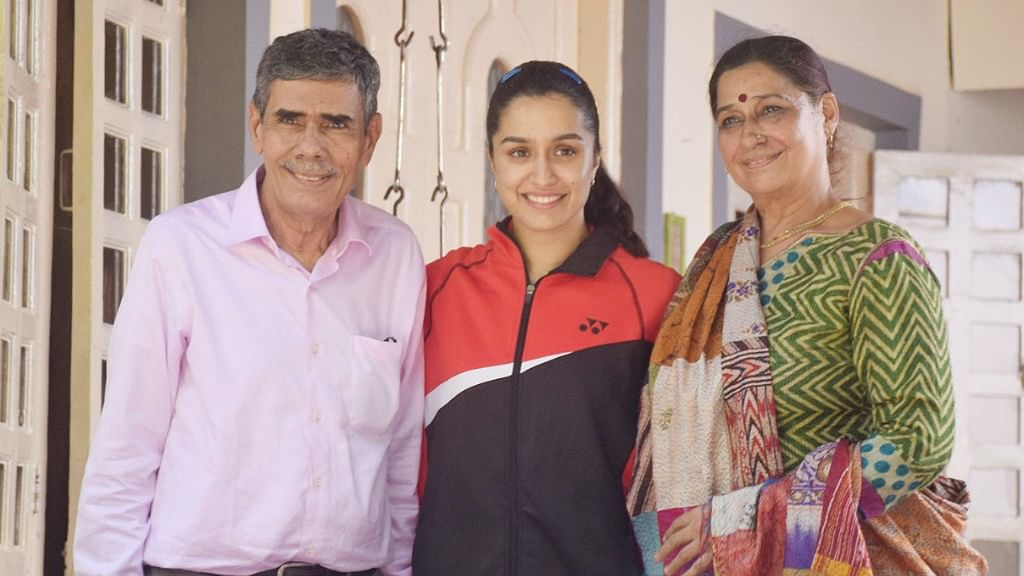 Shraddha Kapoor with Saina Nehwal's parents - Dr. Harvir Singh Nehwal and Usha Rani Nehwal.