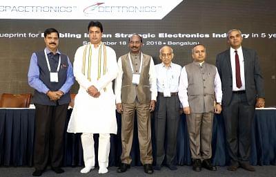 "Bengaluru: Tripura Chief Minister Biplab Kumar Deb, ISRO Chairman Dr. K Sivan, ISRO CBPO Dr.P V Venkitakrishnan, Former ISRO Chairman Dr. A S Kiran Kumar, IESA Chairman Anil Kumar Muniswamy at the inauguration of ""SPACETRONICS 2018"" in Bengaluru on Sept 18, 2018. (Photo: IANS)"